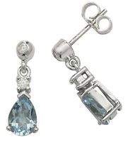 Aquamarine and Diamond Earrings White Gold Drop Hallmarked Appraisal Certificate