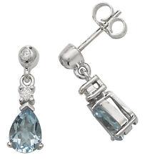 Aguamarina Y Pendientes Diamante Blanco Gota Oro Contraste Tasación Certificado