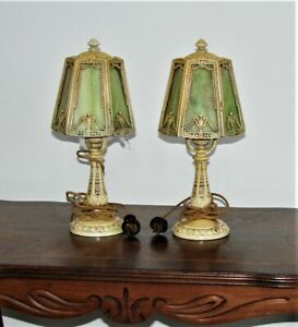 2) Antique Victorian Stained Slag Glass Lamp with 6 Panel Shades Untouched Nice