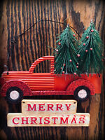 vintage old Red Farm Truck Christmas Ornament Tree Decoration 5x5 farmhouse