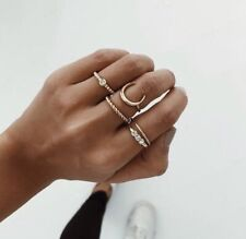 Gold Moon Stackable Rings Fashion Luxury Boho Festival Party Boutique Uk