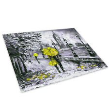 Black White Big Ben Yellow Glass Chopping Board Kitchen Worktop Saver Protector