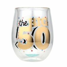 Top Shelf Double Wall Stemless 50th Birthday Wine Glass, Multicolor, Red or Whit