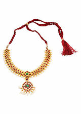 ONE GRAM GOLD PLATED BHARATNATAYAM DANCE KEMPU TEMPLE STONE NECKLACE CHAIN S566