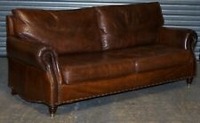 TIMOTHY OULTON BALMORAL HALO VINTAGE BROWN LEATHER SOFA WITH FEATHER FILLED BACK
