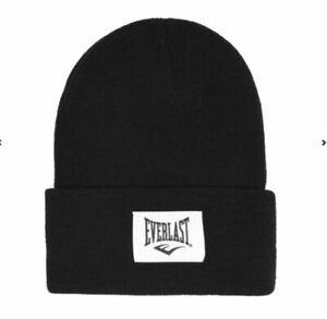 Everlast Men's Winter Hat Knitted Wool Hat Beanie One Size Black Grey