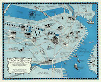 1922 Decorative Map of Boston Massachusetts Pictorial Historic Wall Art Poster