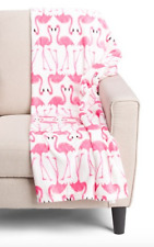 Flamingo Throw Blanket White Pink Domain Soft Plush Fleece 60 x 70 inch NWT