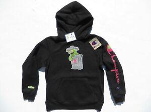 Champion X SESAME STREET Hoodie Youth Medium Oscar the Grouch Sweatshirt Black M