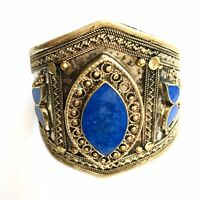 Dramatic Lapis  Lazuli Stone Kuchi Afghan Tall Cuff Bracelet  Vintage Jeweller