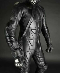 Black Custom Motorbike suit  Motorcycle Racing Leather Suit1or 2 Piece Suit 1