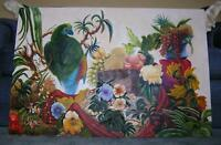 VINTAGE HORTICULTURE BIRD PARROTS BOTANICAL FLOWER FRUIT STILL LIFE OIL PAINTING