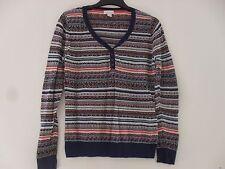 Monsoon Fine Knit Cotton Blend Multi Design Jumper Top Size 14.