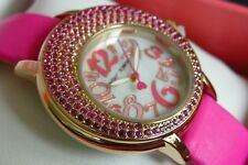 NWT Betsey Johnson Women's CRESCENT CRYSTALS PINK WATCH BJ00664-02