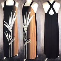 WAREHOUSE Black White Peach Maxi Dress Holiday Evening Cross Strap Size 12