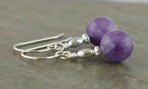 Purple Plum Jade Gemstone & Sterling Silver Drop Earrings with Gift Box