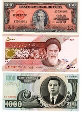 LOT 3 Billets DIFFERENTS PAYS 100 pesos 1959 / 5000 RIALS / 1000 WON NEUF UNC