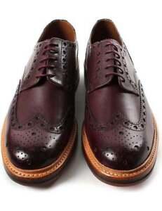 Handmade Men's Genuine Brown Leather Oxford Brogue Wingtip Derby Shoes US741
