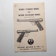Sturm Ruger Mark I Target & Ruger Standard Manual 1957 w  Receipt and Warranty