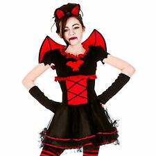 Kids Girls Little Gothic Vampiress Fancy Dress Halloween Vampire Costume New