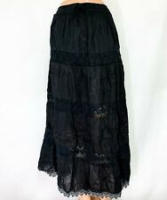100% Cotton Boho Lace Trim Embroidered Tiered Peasant Sweep Skirts