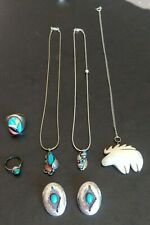 Set of Sterling Silver and other American Indian earrings, necklaces and rings.
