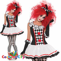 Womens Ladies Teen Harlequin Honey Clown Halloween Fancy Dress Party Costume