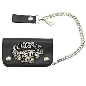Lucky 13 Rat Rod Leather Chain Wallet Kustom Kulture Rockabilly Punk Tattoo