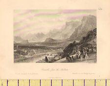 C1830 antique print ~ grenoble de la forteresse ~ soldats