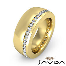 Round Diamond Channel Mens Ring 18k Yellow Gold 8.5mm Eternity Wedding Band 1Ct