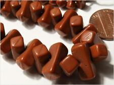 Strand (100) Czech Art Deco vintage brown rectangle interlock puzzle glass beads