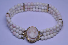 VINTAGE  ANGELSKIN CORAL BEAD 3 STRAND BRACELET WITH ANGELSKIN CORAL CAMEO CLASP