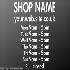 Shop Window Stickers, Opening Times, Website, Advertising, Business, Decals.