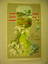 VINTAGE EMBOSSED EASTER POSTCARD CROSS WITH COUNTRY SCENE PORTRAIT UNMAILED