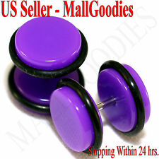 "2036 Purple Violet Fake Cheater Illusion Faux Ear Plugs 16G Bar 1/2"" = 12mm 2pc"