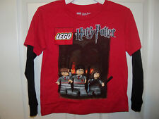 Lego Harry Potter Red Black Long Sleeve Shirt Boys Size Medium 5 / 6 NWT  #70
