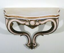 ITALIAN DEMI LUNE CONSOLE CARVED GOLD GILT WALL HUNG Console Table 1960s