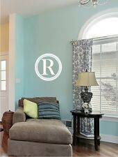 Wall Decals Monogram Simple Circle - Vinyl Text Wall Lettering Sticker Art