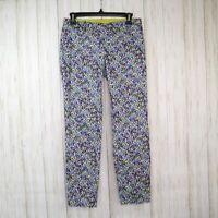 Ann Taylor Floral Print Crop Pants Size 0 Womens Chelsea Crop Euc Side Zip
