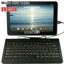 """Micro USB Leather Wired Keyboard Plug and play For Various 10"""" 11"""" RCA Tablet"""