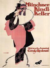 Munchner Kindl Keller Vintage German Art Deco Poster CANVAS PRINT 24x30 in.