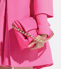VALENTINO GARAVANI Pink Coral Grained Leather Gold Chain Flap Shoulder Bag