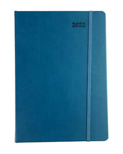 2022 Diary A5 Day To Page w Elastic FSC Diary Day Opening-BLUE