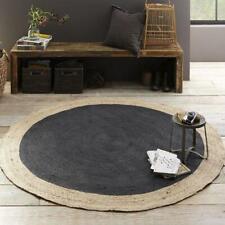 "2""Feet Indian Braided Jute&Cotton Floor Round Rug Purely Handmade Natural  Rug"