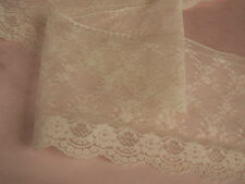 """Ivory Flat Lace Trim, 7"""" Wide, 3 YARDS, Lace For Invitations, Sachets, Apparel"""