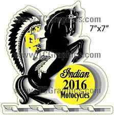 INDIAN 1934 MOTORCYCLES Vintage Style Decal/Sticker Yellow 7x7