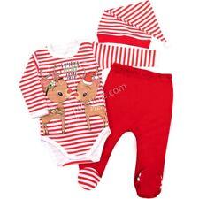 Baby Bekleidungsset 3 Teilig Unisex Baumwolle Babyset mit Aufdruck Weihnachten