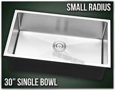 """30"""" Single Bowl Undermount 16 Gauge Stainless Steel Kitchen Sink Small Radius"""