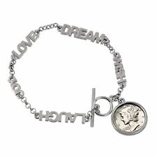 Laugh Joy Dime Coin Bracelet 1936 Year to Remember Inspirational Dream Wish Love