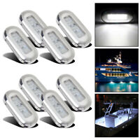 "8x Stainless Steel 3"" Marine Boat LED Courtesy Lights Cabin Deck Light White 12V"